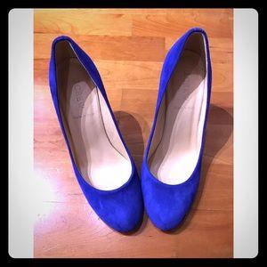 JCrew Blue Suede Heels size 7.5